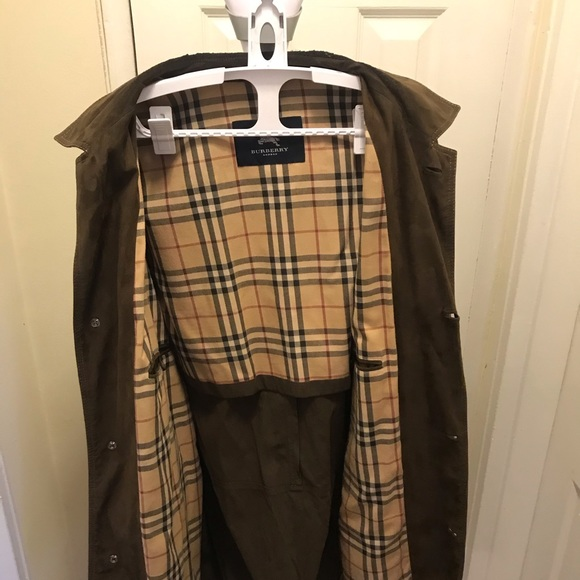 Mens Brown Leather Suede Burberry Jacket XXL